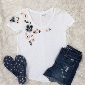 Loft Floral Embroidered SS Tee 💗 White